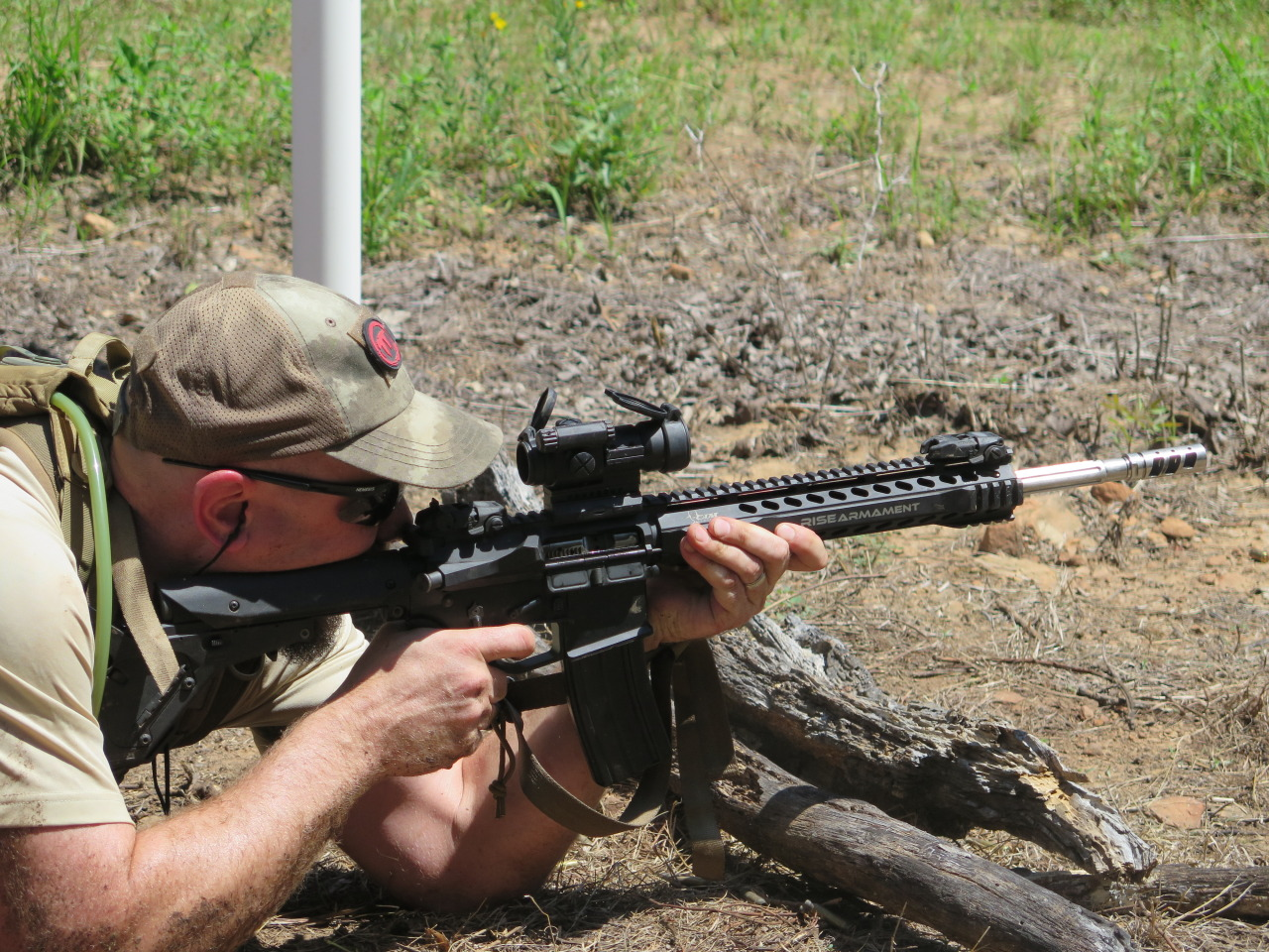 A Trek Tech Staffer Engages the 500 Yard Target with a RISE Armament Rifle